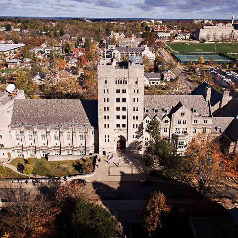 An aerial view of the Indiana Memorial Union