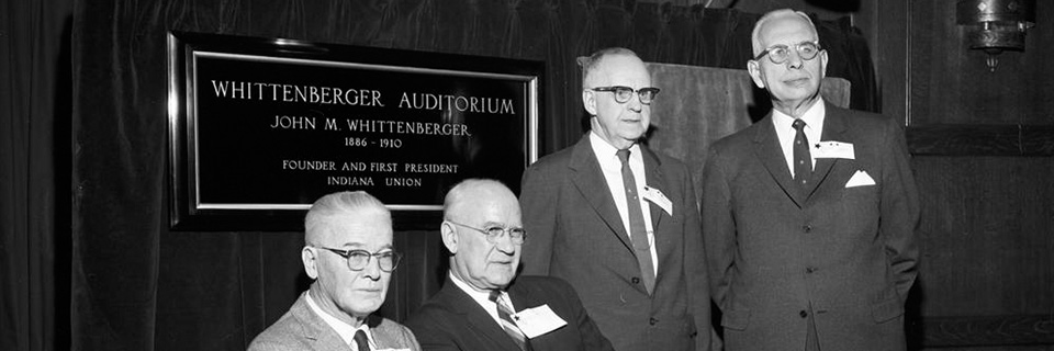 An archival image of Union Board alumni at the dedication of Whittenberger Auditorium
