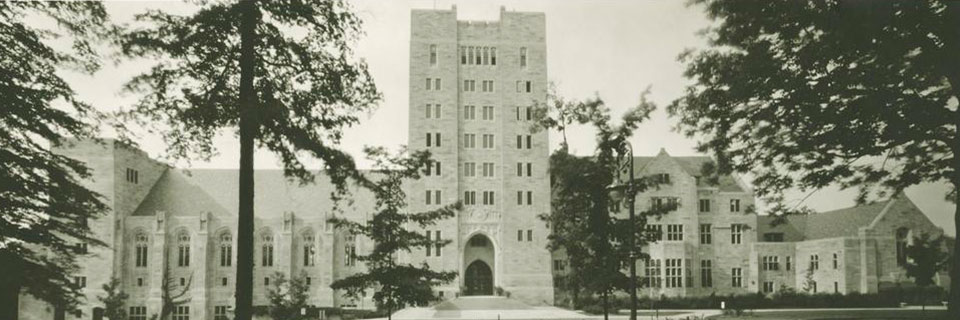 An archival image of the exterior of the Indiana Memorial Union