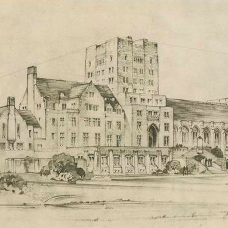 An archival sketch of the exterior of the Indiana Memorial Union