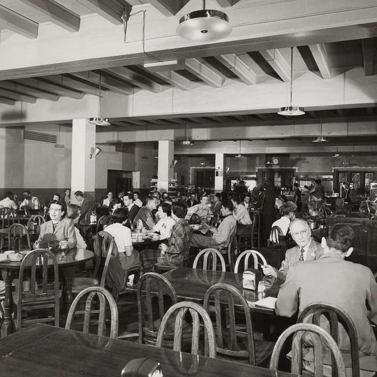 An archival image of students in the Indiana Memorial Union Commons
