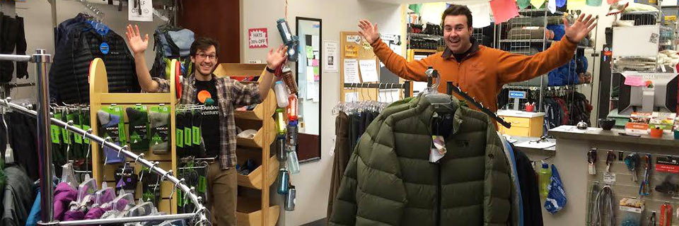 Two students attend IU Outdoor Adventures' annual gear swap.