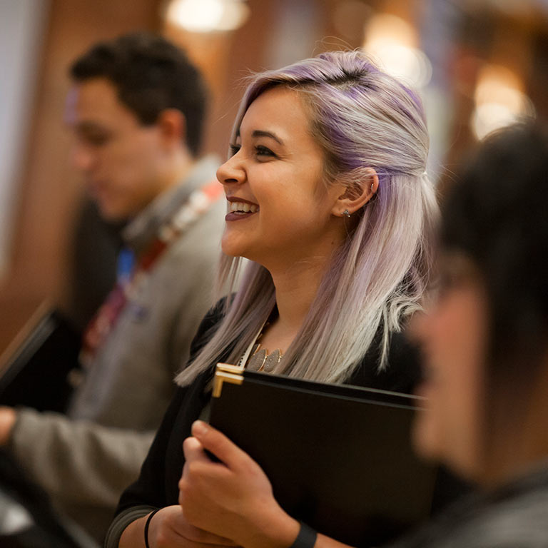 A student attends an event at the Indiana Memorial Union.
