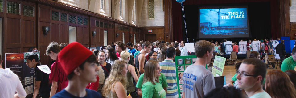 Students attend an event in Alumni Hall at the Indiana Memorial Union.
