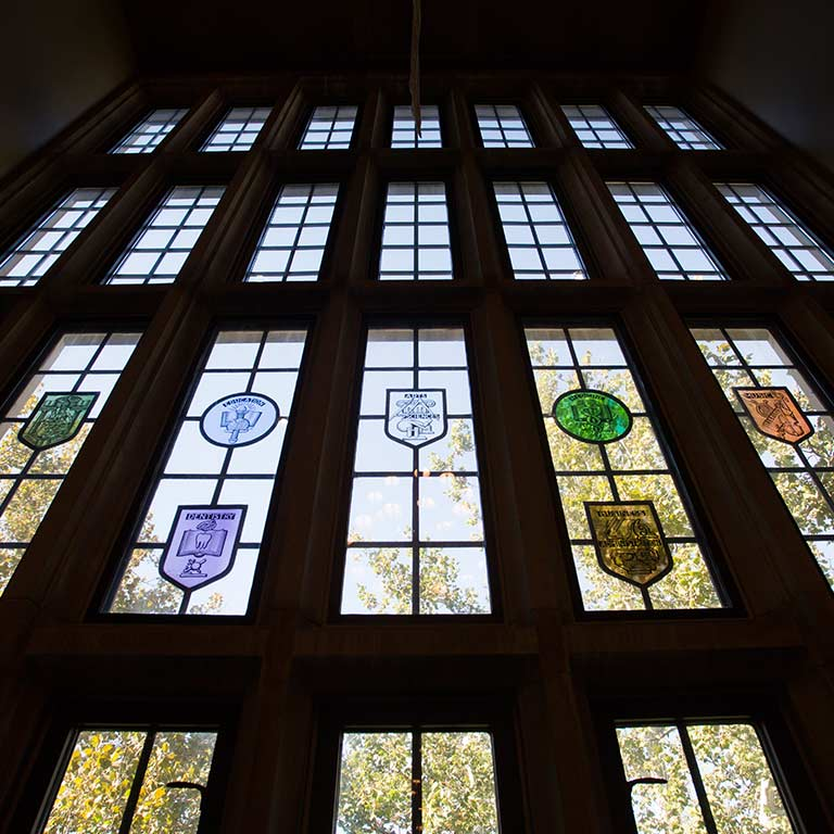 Stained-glass windows in the Tudor Room in the Indiana Memorial Union