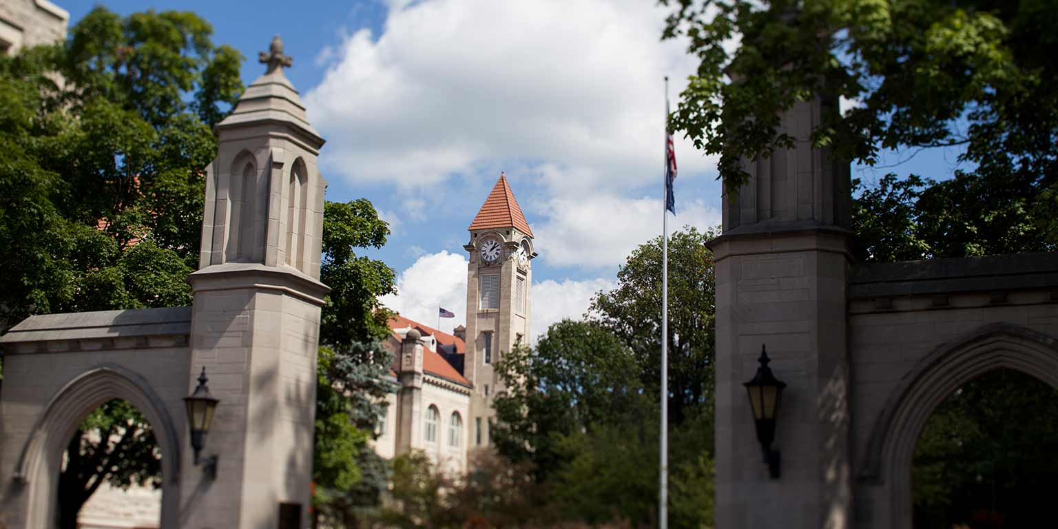 A view of the Sample Gates and the Student Building on the Indiana University Bloomington campus