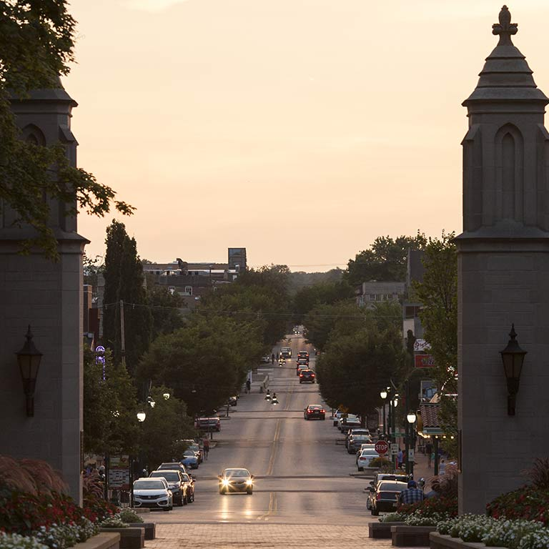 A view of Kirkwood Avenue from the Sample Gates on the Indiana University Bloomington campus