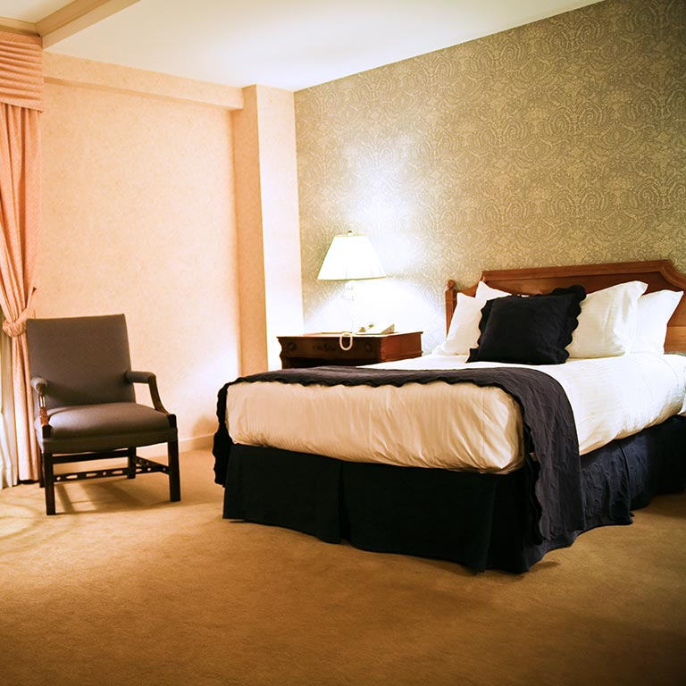 A guest room in the Biddle Hotel